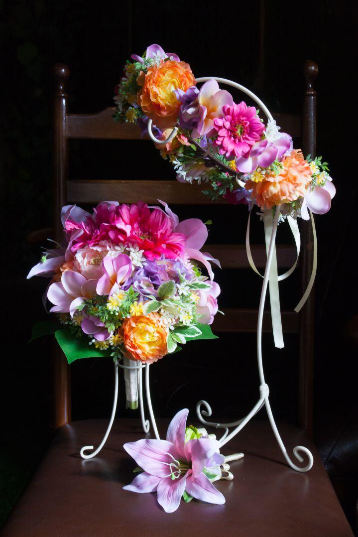 華やかなウェディングブーケ花冠セット