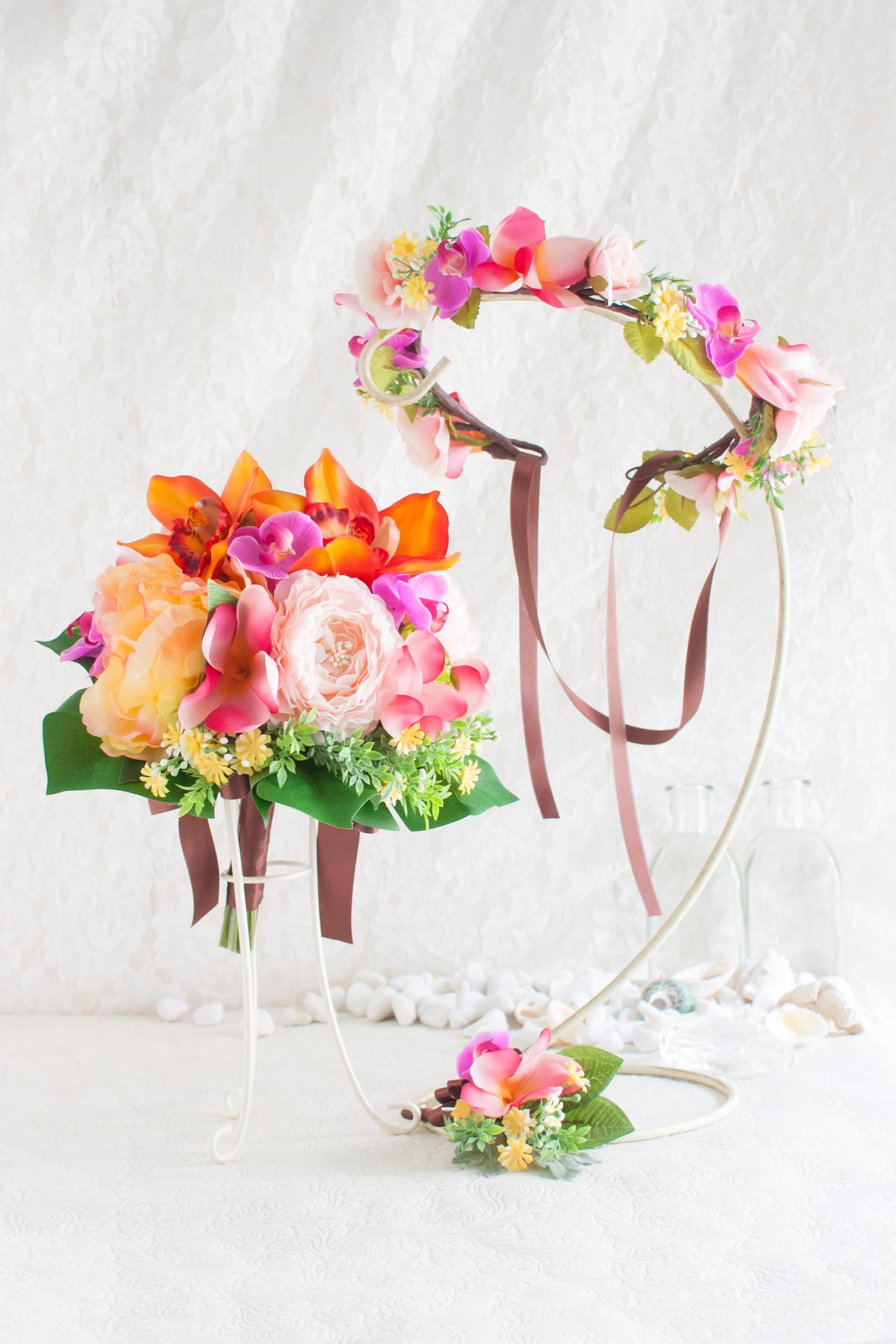 リゾート婚ウェディングブーケ花冠セット